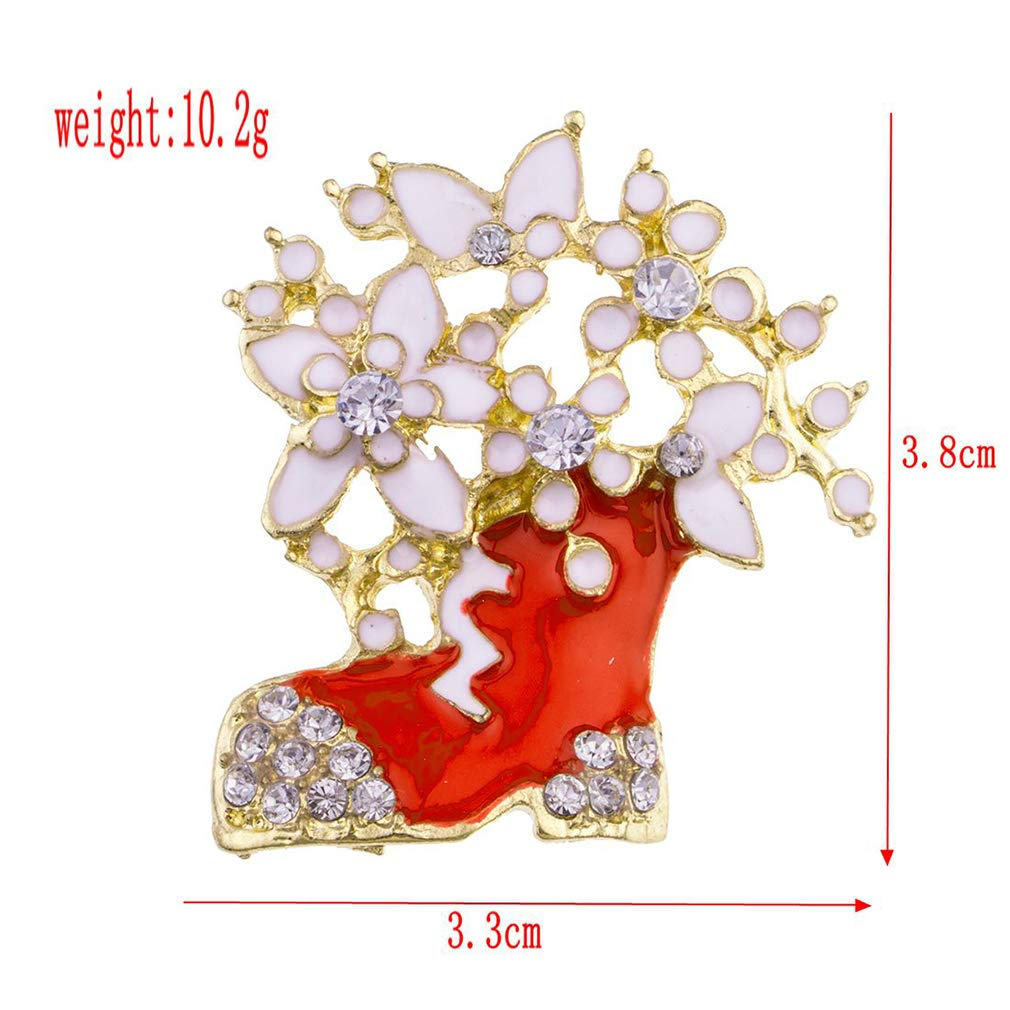 7f5435614e938 Amazon.com  SOURBAN Vintage Christmas Brooch Red Boot Bell Deer Christmas  Hat Rhinestones Breastpin Decor Gifts