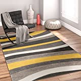 Temptation Waves & Stripes Gold, Grey, Ivory Modern 6x9 7x9 ( 6'7'' x 9'3'' ) Geometric Comfy Casual Hand Carved Area Rug Easy to Clean Stain & Fade Resistant Abstract Contemporary Thick Soft Plush