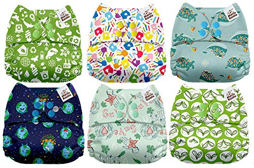 Mama Koala One Size Baby Washable Reusable Pocket Cloth Diapers, 6 Pack with 6 One Size Microfiber Inserts (Green Planet)