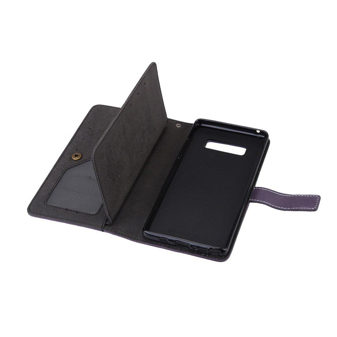 Negro HiKing Para Samsung Galaxy Note 8//N950F Funda Cuero De La PU Magn/ético Capirotazo Billetera Apoyo Bumper Protector Cover Funda Carcasa Case Retro Frosted 9 Card Slots