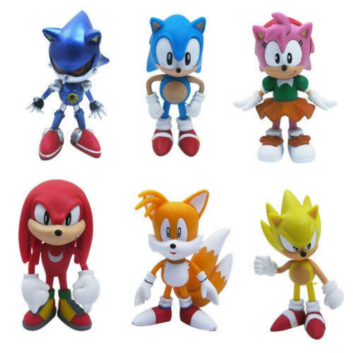 Set of 6pcs Sonic the Hedgehog Action Figures, Cake Toppers, 2.4'' by Bieber's Mall