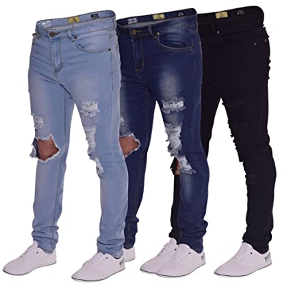 Mens Skinny Jeans Super Stretch DISTRESSED Cutaway Extreme Frayed Rip Denim