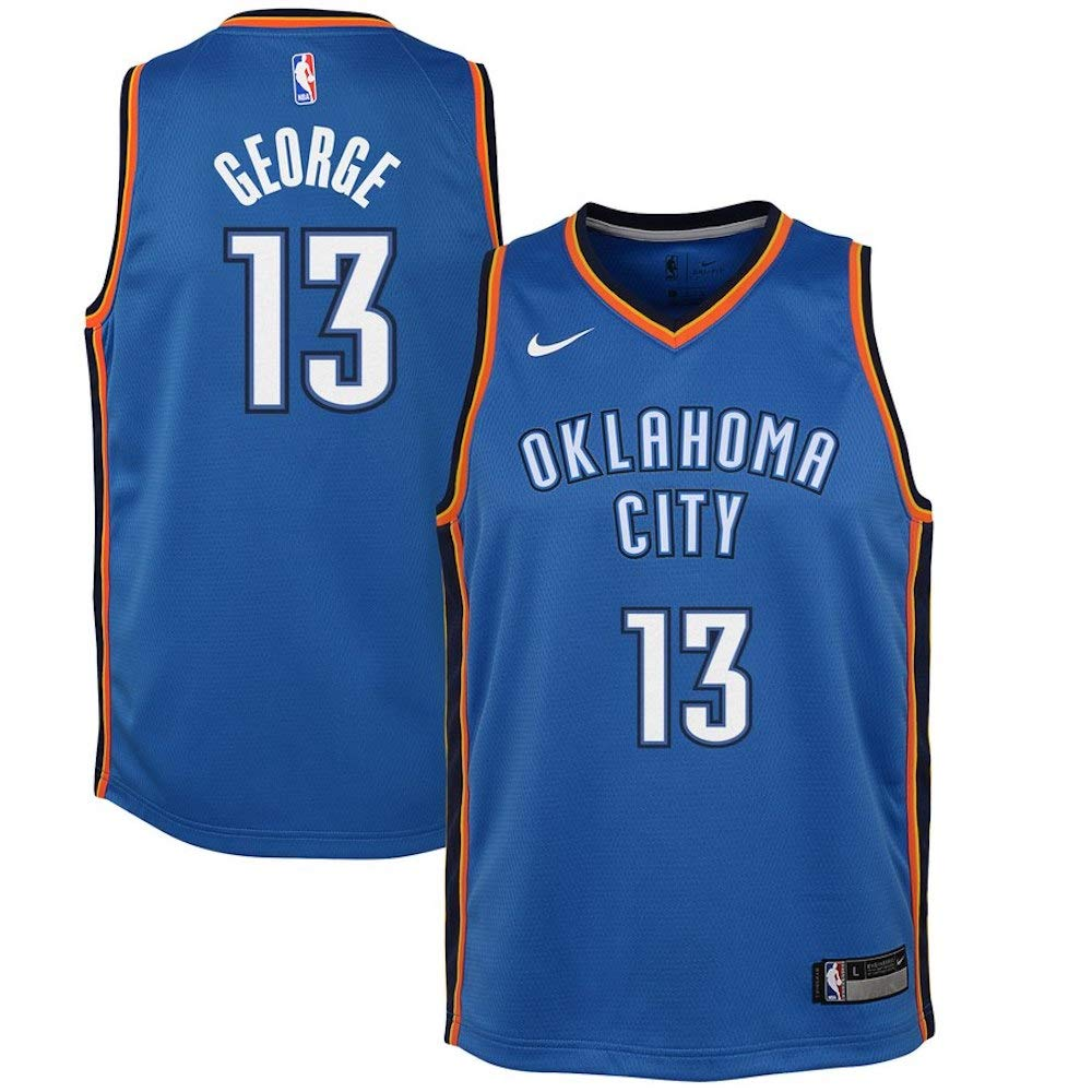 Nike Youth Paul George Oklahoma City Thunder Icon Edition Jersey - Blue (Gold, Youth Small (8)) by Nike (Image #1)