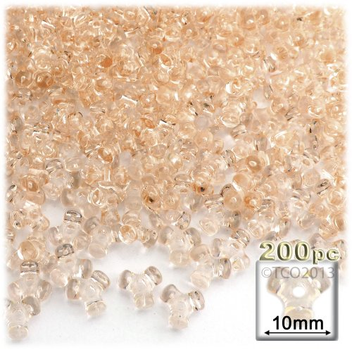 (The Crafts Outlet 200-Piece Plastic Transparent Tri Beads, 10mm, Champagne)