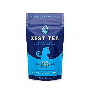 Zest Tea Energy Hot Tea, High Caffeine Blend Natural & Healthy Coffee Substitute, Perfect for Keto, 20 servings (150mg Caffeine each), Compostable Teabags (No Plastic) - Blue Lady Black Tea