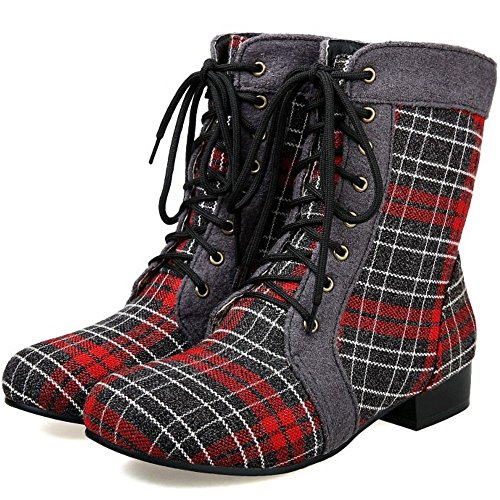 Ankle Heel COOLCEPT Women Up Toe Round Plaid Lace Red Boots Classic Low qHz4fF