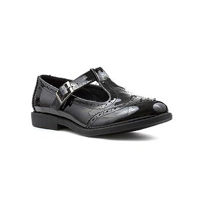 Lilley Womens Black Patent T-Bar Shoe - Size 3 UK - Black