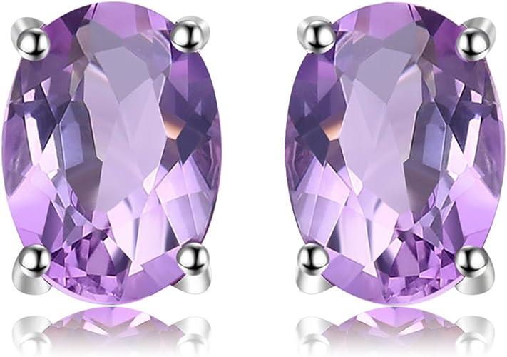 Natural African Amethyst 925 Sterling Silver Stud Earrings 2ct