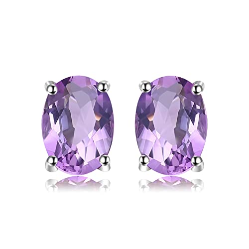 9d832f808 JewelryPalace Birthstone Gemstones 2ct Natural Amethyst Stud Earrings For  Women 925 Sterling Silver Stud Earrings For