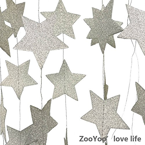 ZOOYOO Glitter Paper garland Five-pointed Star ornaments ,For a variety of activities and party supplies.10ft-2pcs-Silver