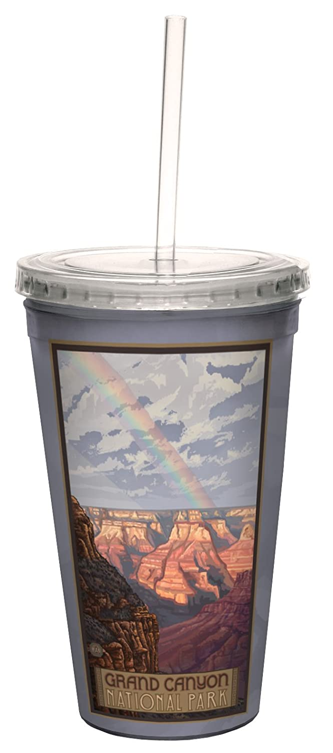 Lanquist Artful Traveler Double-Walled Cool Cup with Straw 16-Ounce Tree-Free Greetings cc33299 Scenic Grand Canyon National Park Rainbow by Paul A