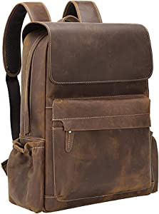 Tiding Retro 15.6 Inch Genuine Cowhide Leather Laptop Backpack Large Capacity Travel Bag Schoolbag Bookbag Daypack for Men