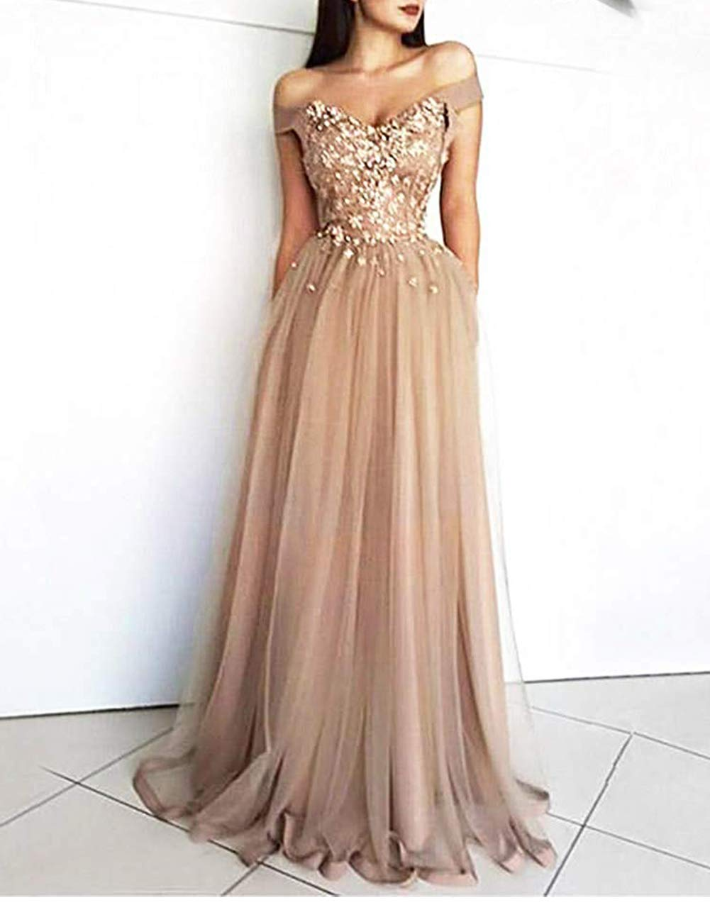 Off Shoulder Prom Dress Tulle Lace