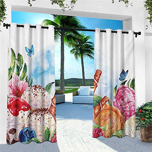 leinuoyi Tropical, Outdoor Curtain of Lights, Flowers and Butterflies with Ice Cream Berry Sauce and Chocolate Dessert Summer, Fashions Drape W84 x L96 Inch Multicolor