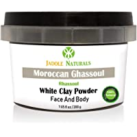 Jadole Naturals Moroccan Natural White Clay Powder Moroccan Ghassoul Face Hair Body 200 g, Pack of 1