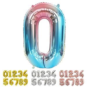 Ponmoo Foil Globo Número 0 Azul, Gigante Numeros 0 1 2 3 4 5 6 7 8 9 10-19 20-29 30 40 50 60 70 80 90 100, Grande Globos para La Boda Aniversario, Globo de Cumpleaños Fiesta Decoración