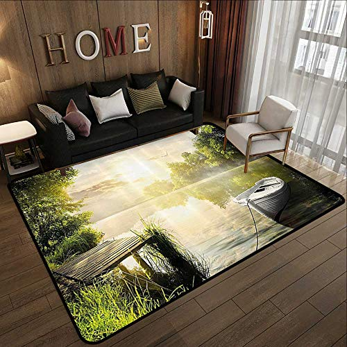 Low-Profile Mats,Nature,Boat by The Foggy Lake Deck Dreamy Forest in The Morning Country Style Image,Olive Green White 71