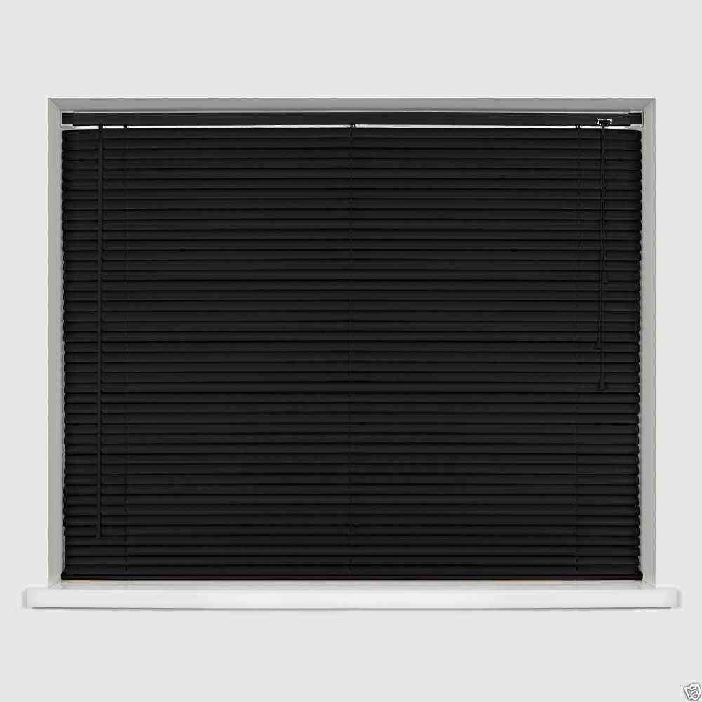 Easy-Fit PVC Venetian Window Blinds Trimmable Home Office Blind New (Black, 120cm x 150cm) Optimal Products