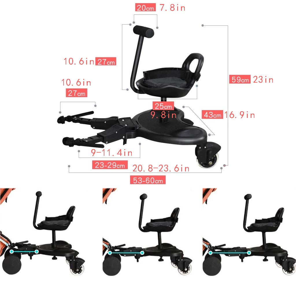 DGDG Baby Stroller Pedal, Shuangwa Trailer Trailer Auxiliary Pedal Child Travel Second Child Accessories Baby Stroller Trailer Tail Compatible 99% Baby Carriage, Black