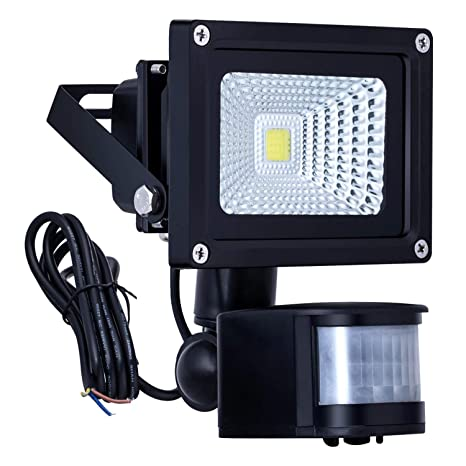 Homwell 10W Foco LED con Sensor Movimiento de alto brillo 1000lm, Proyector LED IP66 a