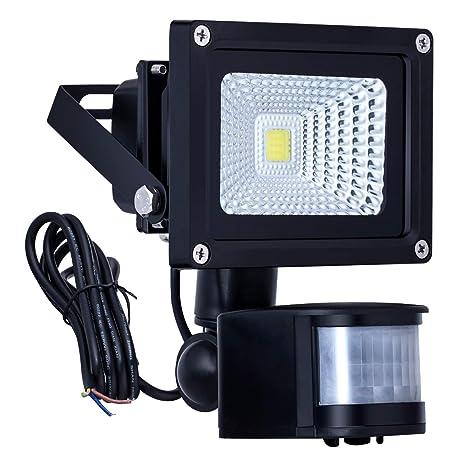 Homwell 10W Foco LED con Sensor Movimiento de alto brillo 1000lm, Proyector LED IP66 a