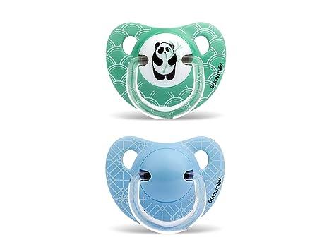 Suavinex - Pack de 2 Chupetes Suavinex 6-18 Meses. Tetina Anatómica de Silicona 0% Bisphenol, Color Verde y Azul Diseño Panda