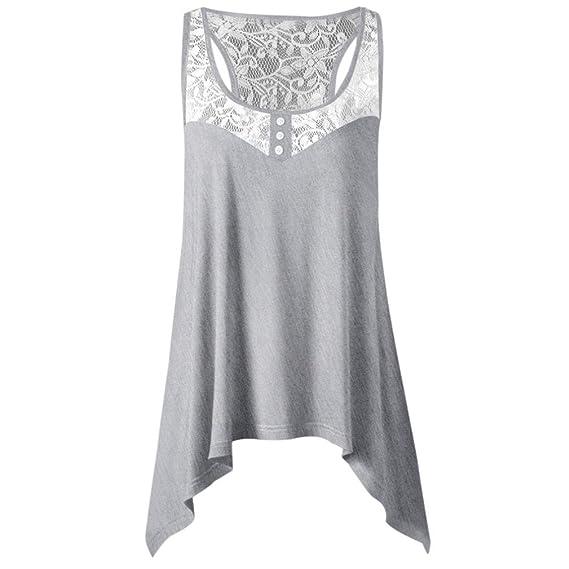 ... Verano Irregulares del Cordón de Costura Top Sin Mangas de Las Mujeres Blusa Casual Tops Camisa, Blusas Blusas Para Mujeres Blusas Para Mujer Moda 2018.