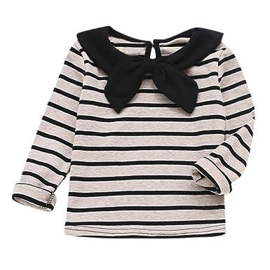 ef4b4c878 1-4 Years Baby Girls Long Sleeve Striped T-Shirt Toddler Infant ...
