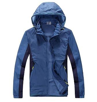 HGCX WY Chaqueta para Hombre, Chaqueta Informal con Capucha Ski Lady Chaqueta Impermeable a Prueba de Viento al Aire Libre (Color : Azul, Tamaño : Metro): ...