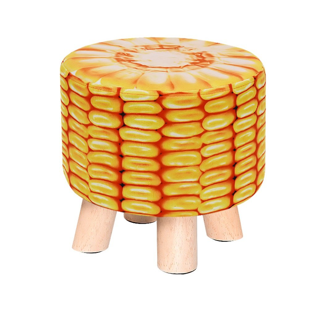 ALUS- Solid Wood For Shoe Stool Low Stool Creative Sofa Stool Small Round Stool (Color : Corn)