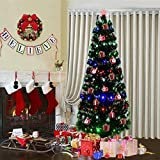 Goplus 7FT Pre-Lit Artificial Christmas Tree Optical Fiber 8 Flash Modes W/ 275 Multicolored LED Lights & Metal Stand