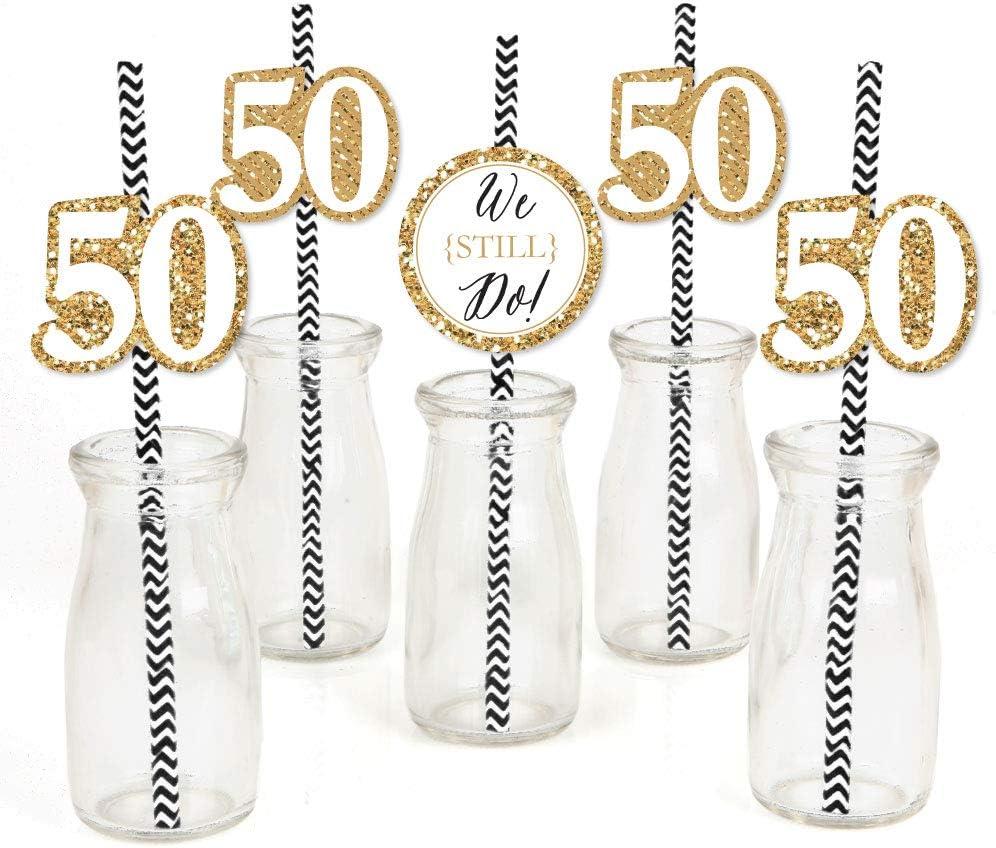 We Still Do - 50th Wedding Anniversary - Paper Straw Decor - Anniversary Party Striped Decorative Straws - Set of 24