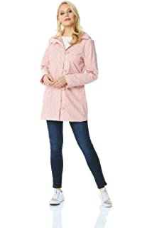 628539ea6 Roman Originals Womens Polka Dot Raincoat - Ladies Casual Full Length  Sleeves Every Day Outerwear Mac Hooded…
