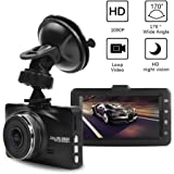 "Full HD 1080P Car Dash Camera Recorder 170 Degree Super Wide Angle Cameras, 3.0"" TFT Display,with Night Vision, WDR, Loop Recording with 32GB Card (black)"