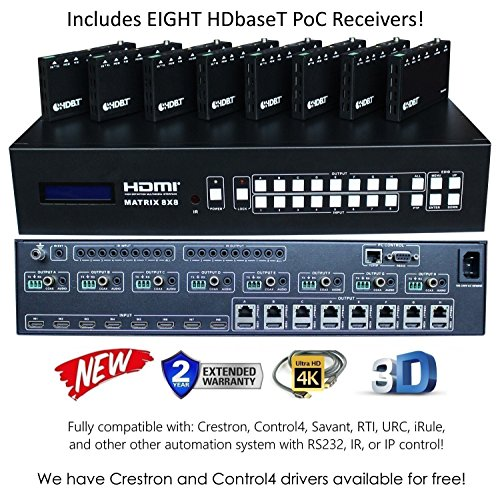 8×16 HDbaseT 4K Matrix SWITCHER 8×8 16×16 with 8 Receivers (CAT5e or CAT6) HDMI HDCP2.2 HDTV Routing SELECTOR SPDIF…