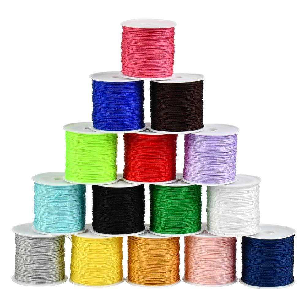 BUYGOO 15 Colors 0.8mm Nylon Beading String Chinese Knotting Cord Nylon Shamballa Macrame Thread Cord Beading String for Bracelet Making 735yards Totally