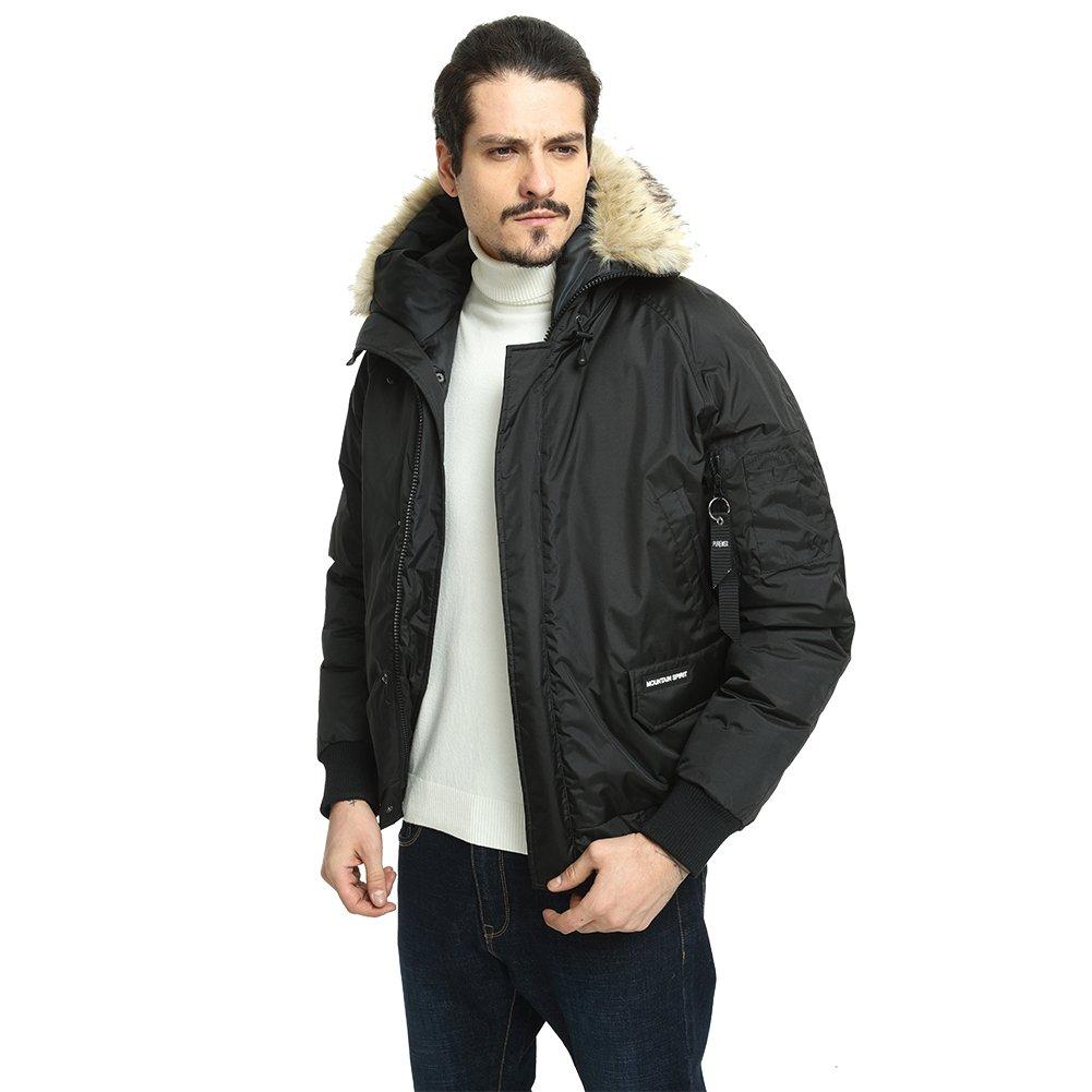 PUREMSX Vintage Flight Jacket, Faux Fur Military Warm Hooded fleeze Trimmed Hood Ski Jacket Cold Weather,Black