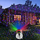 Garden Laser Light, HOSYO 8 Pattern Red Green Blue/RGB Laser Projector lights with Remote Control, IP65 Waterproof Starry Spotlight for Hoilday Parties House Yard Garden Decoration