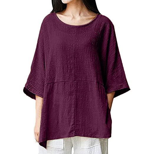 fb17c4d00aa9be Women Plus Size Casual Loose Dolman Sleeve Shirt Solid Linen Top Slouchy  Blouse (Medium,