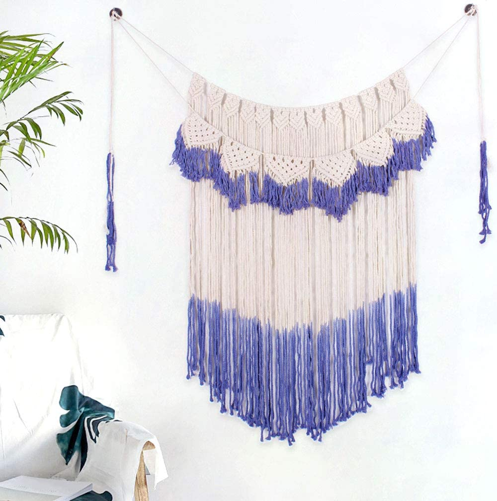 "Boho Woven Art Tapestry Wall Hanging Macrame, Large Curtain Fringe Banner Bohemian Wall Decor Woven, Handmade Macrame Backdrop Boho Home Decoration for Wedding Bedroom Living Room Gallery,42"" L x 57""W"