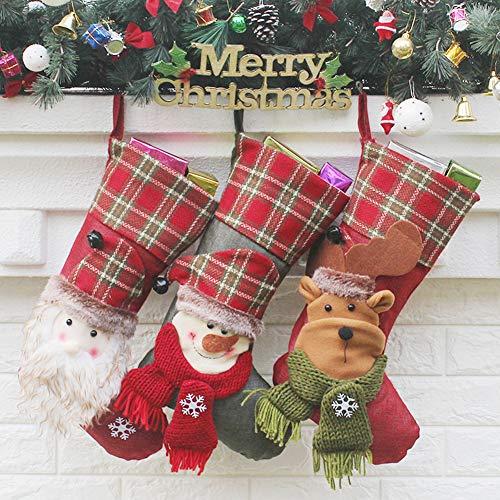 YAMUDA Christmas Stockings, 18″ Set of 3 Classic Socks for Home Decor 3D Jingle Bell Christmas Tree Hanging Stockings for Kids Xmas Gift Bags Christmas Bell (Artwork-01)