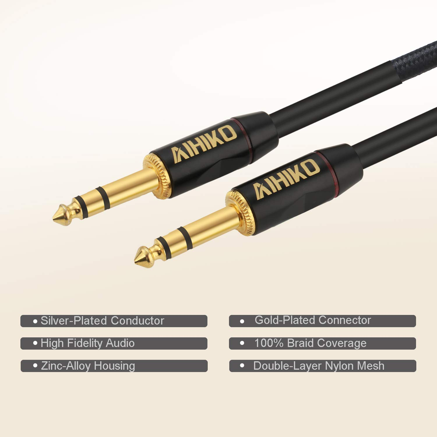 AIHIKO Guitar Cable 10Ft Nylon Braided Instrument AMP Cord 1/4 Straight Gold Plugs for Bass and Keyboard Pro Audio, Black