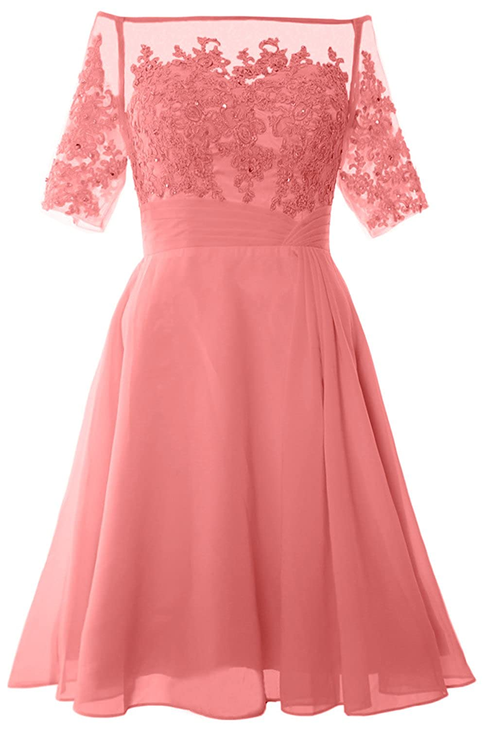 MACloth Women Off Shoulder Lace Short Sleeve Cocktail Dress Wedding Evening Gown