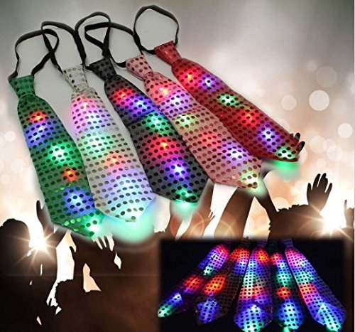 (URToys 5Pcs Colroful LED Unisex Sparkly Elasticated Glitter Sequins Light Up Necktie Blinking Flash Glow Tie Flash Lighting Tie Party Show Favor Stage Performance Decoration Event Birthday)