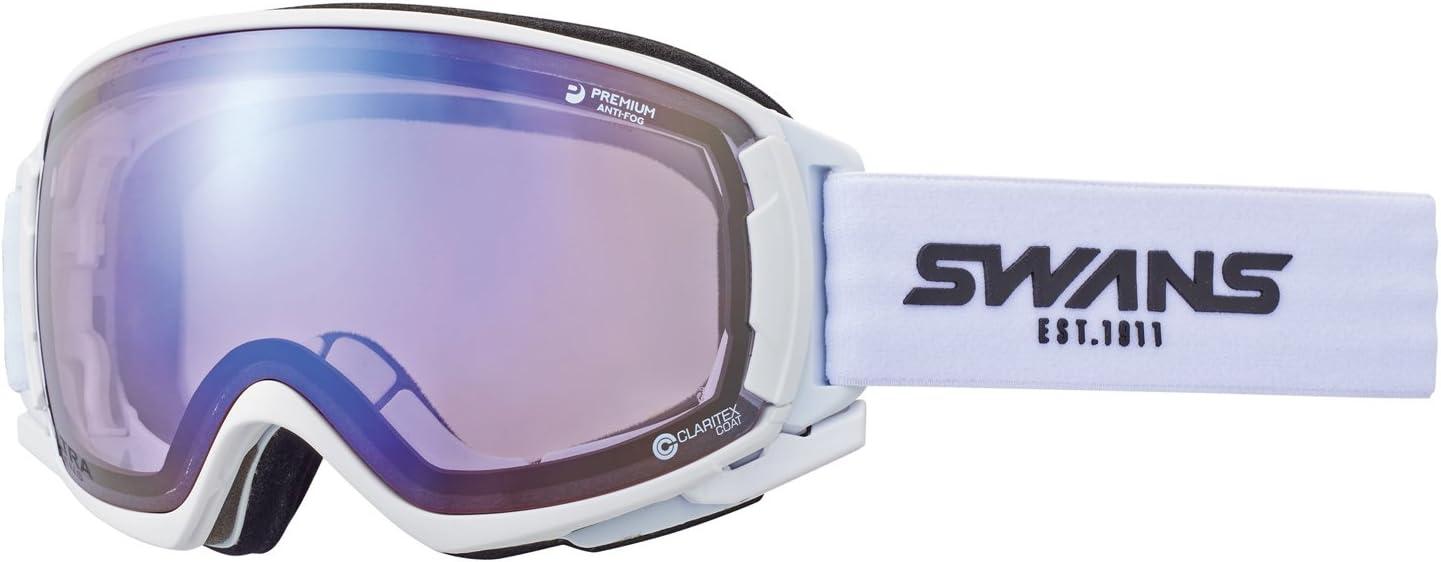 SWANS(スワンズ) ゴーグル スキー スノーボード ウルトラレンズ プレミアムアンチフォグ搭載 呼吸するゴーグル ロヴォ ROVO-U/MDH-SC-PAF マットホワイト/アイスミラー×ウルトラライトパープルレンズ