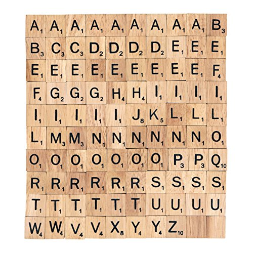 BSIRI Wooden Scrabble Tiles Complete Set 100 Letter A-Z Alphabet Pendant Piece Craft