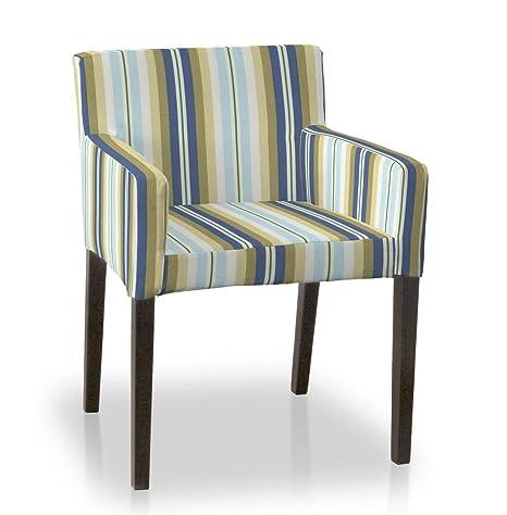 Dekoria IKEA NILS – funda para silla azul y beige rayas