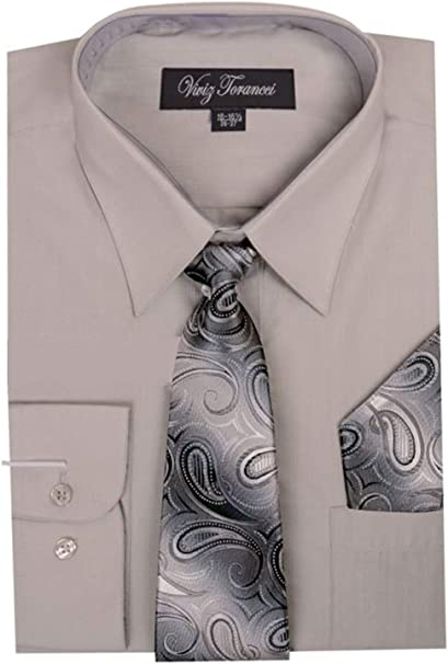 Viviz Forancci Mens Long Sleeve Pointed Collar Dress Shirt with Matching Tie and Handkie AC101