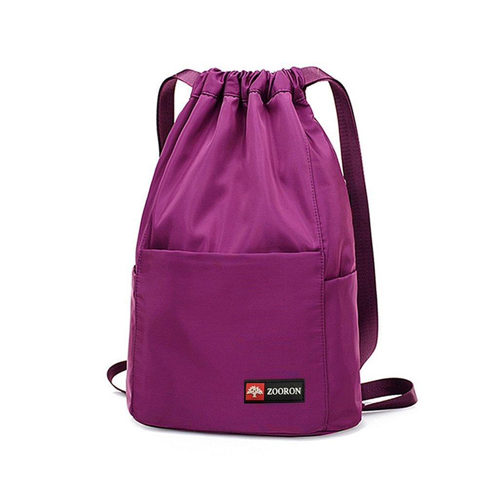 ZOORON Waterproof Drawstring Gym Backpack Bag for Men & Women, Sport Gym Sack Mini Travel Daypack (Purple)