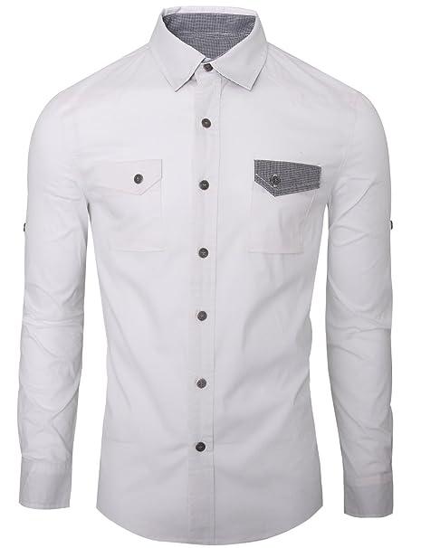 hryfashion Hombre Camisa Botones con 2 bolsillos en el pecho y cuadros Interior Wei©¬